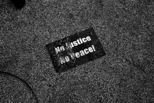 Baltimore, MD- A sign left behind after the protests.