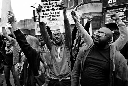 Baltimore, MD- Protesters celebrating criminal charges brought against the six police officers involved in the death of Freddie Gray.