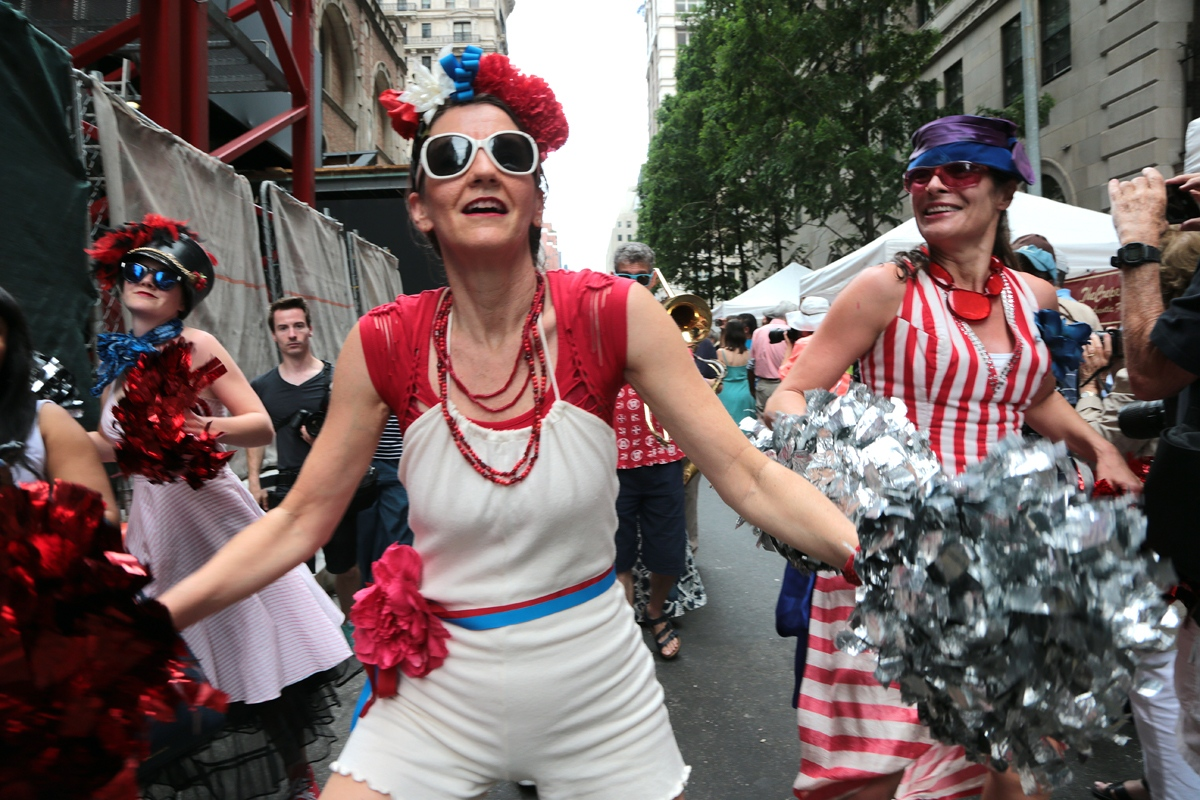 Members of the Hungry Marching Band perform during Bastille Day on East 60th Street in Manhattan. Bastille Day is New York largest public celebration of France's Independence Day (July 14, 1789) and its historic friendship with the United States.