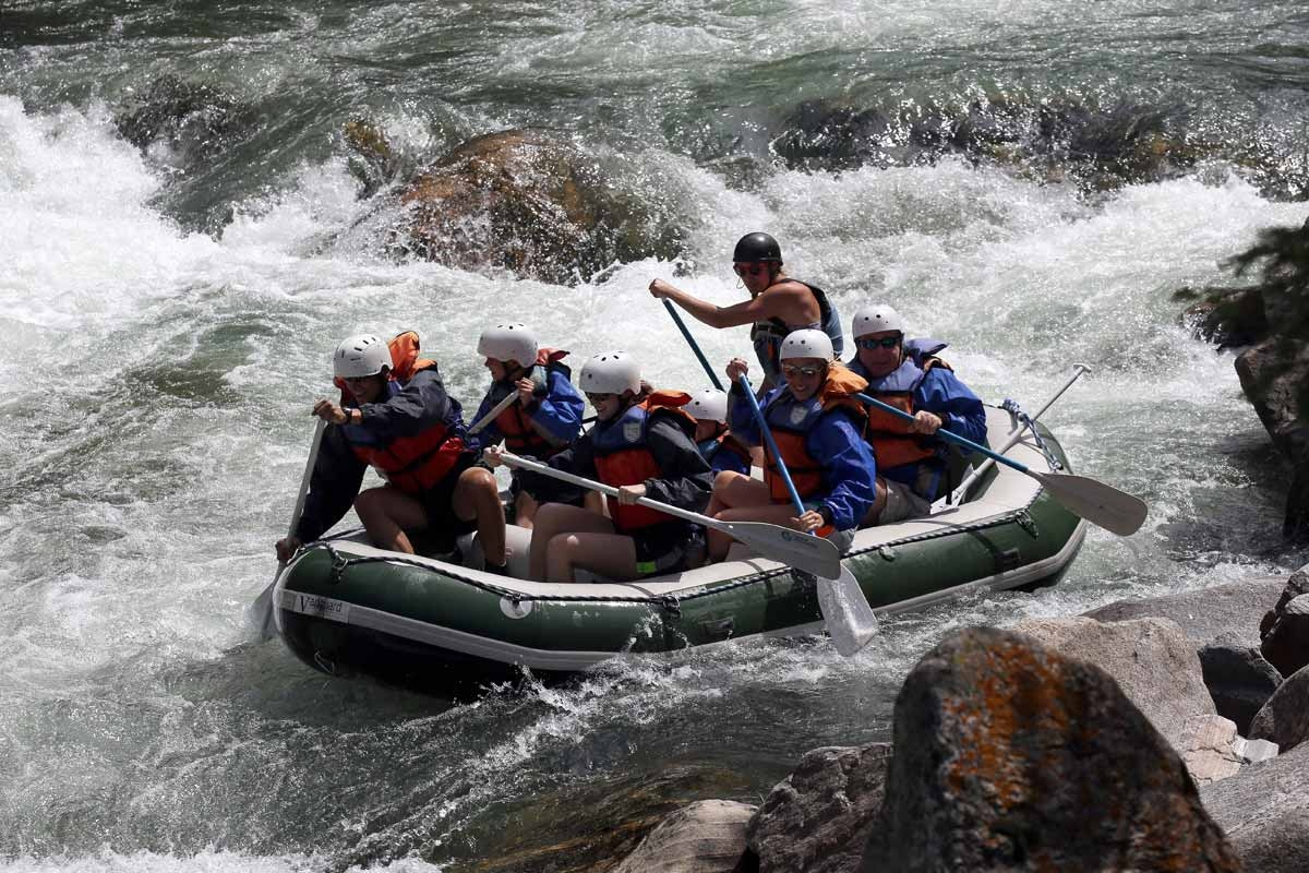Montana's rivers are obscure, others are legendary. But nearly all of them have stories. Whitewater runs are popular among tourists and locals during the summer months. A group paddle down the white waters of the Gallatin River.