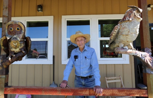 94 years old Bill Orhmann a retired cattle rancher who became a painter and sculptor at the age of 78, pose for a portrait in his gallery/museum in Drummond, Montana.