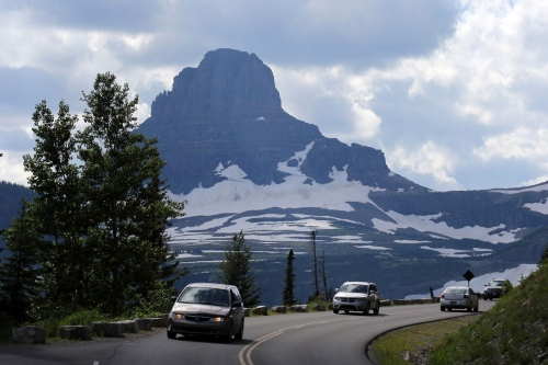 """Going- to-the-Sun Road""  a scenic mountain road in Glacier National Park in Montana."