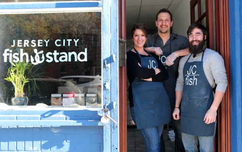 Jill, John Sabochick, and their business partner, Kevin Pipchick -  Owners of the Jersey City Fish Stand.