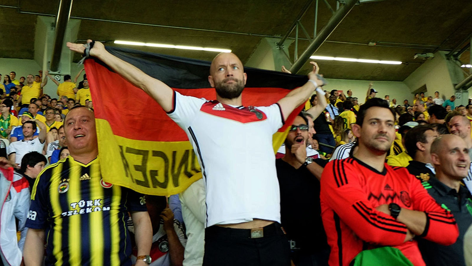 An unidentified German celebrates. The Brazil vs Germany football match that took place on 8 July 2014 at the Estádio Mineirão in Belo Horizonte, Brazil, was the first semi-final match of the 2014 FIFA World Cup.