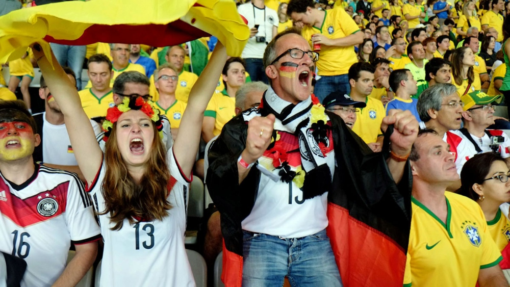 Germans celebrate another goal. The game was subsequently referred to by the Brazilian media as the Mineirazo, evoking the spirit of national shame brought by the Maracanazo in which Brazil unexpectedly lost the 1950 FIFA World Cup on home soil to Uruguay.