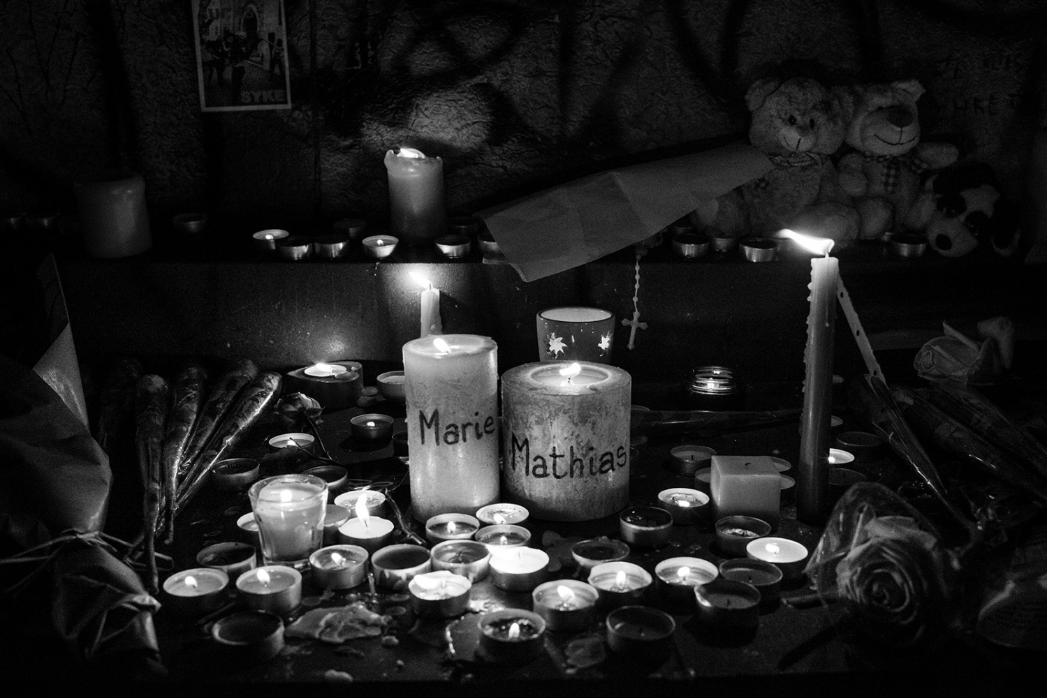 Lighted candles to commemorate Mathias Dymarski, 22, and Marie Lausch, 23, died together in the attack at the Bataclan theatre. Paris, France, Place de la Republique. 14/11/2015. The aftermath of the terrorism attacks in Paris on 13/11/2015.