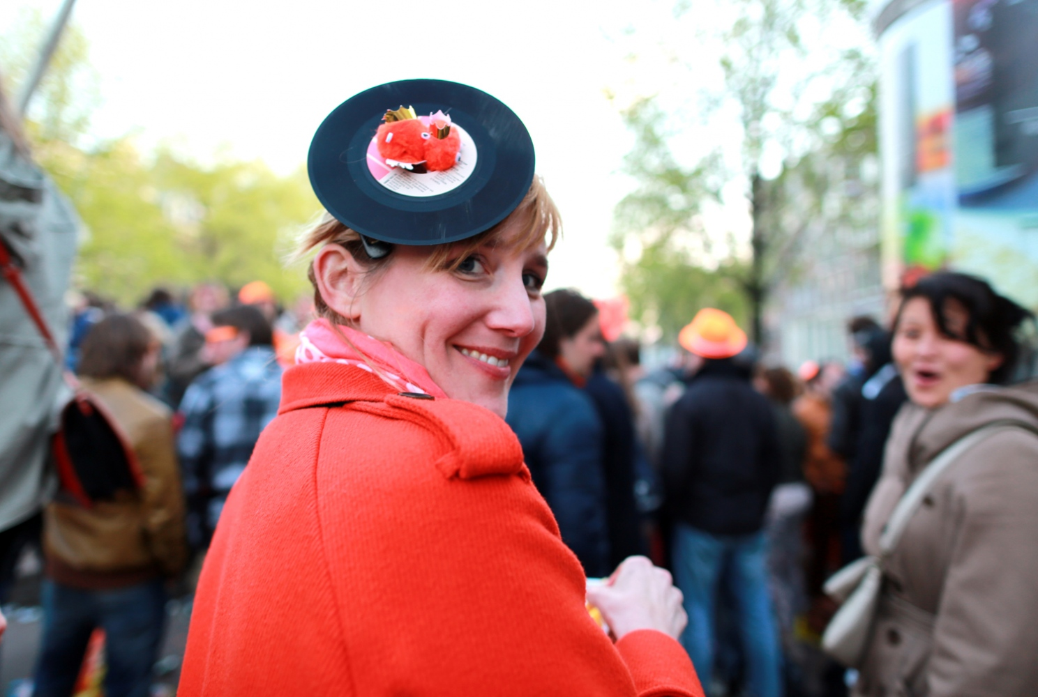 Ute Kohlmann celebrates Koningsdag or King's Day in Amsterdam.