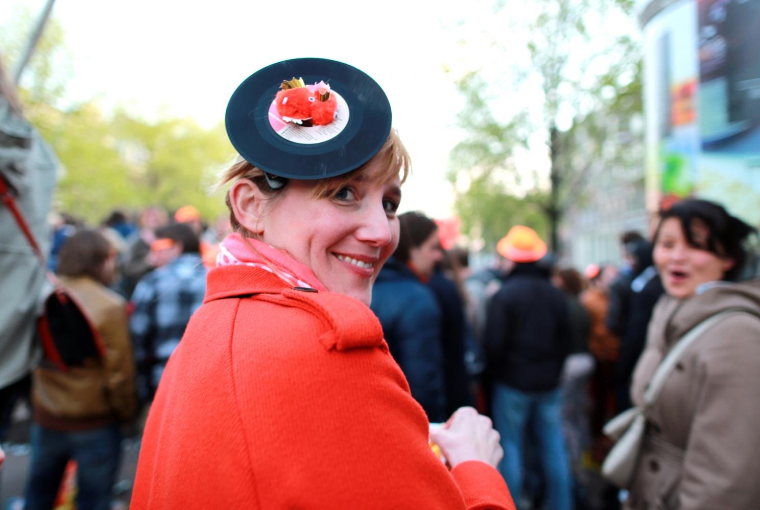 Ute Kohlmanncelebrates Koningsdag or King's Day in Amsterdam.