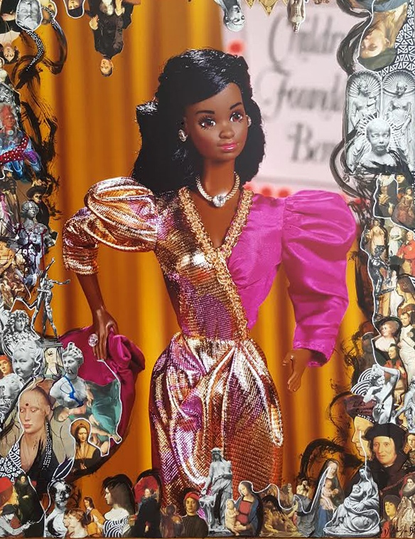 """""""Black Barbie"""" Archival prints and mixed media 35x50inch 9000$"""