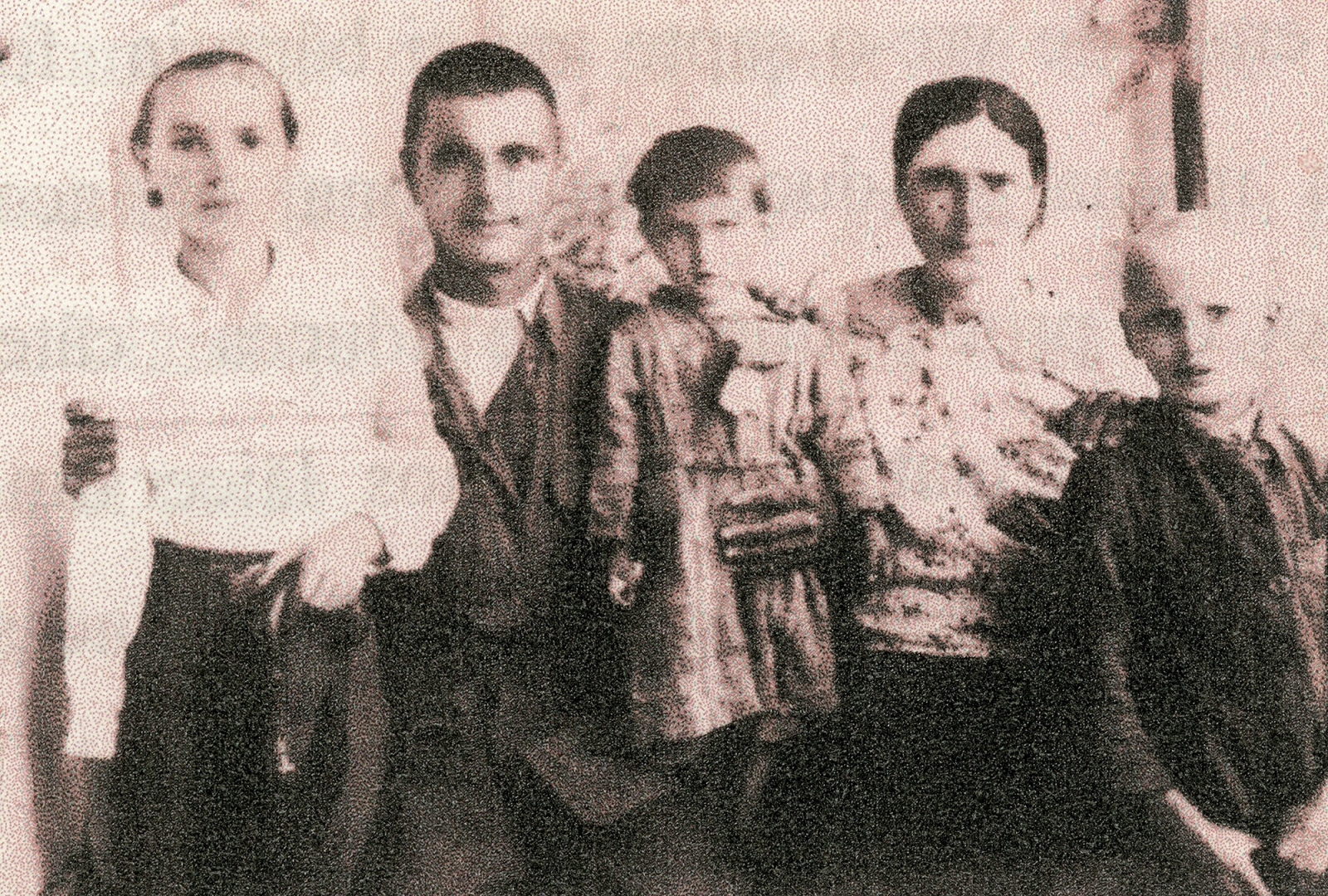 "We try to recover a lost image of Ana and Pasha with their family and their father, Nichifor, who fled the Soviets. Nichifor was considered a dissident due to his and his brother's (a local mayor in Moldova) staunch opposition to the Bolsheviks. The details of what happened to their father after they were deported are hazy for Ana and Pasha. They only know that he was captured in Romania and sent to a gulag near Odessa. He died in prison of unknown causes. This photo was taken before the family was deported and the original image has been lost. It is impressive to think about the availability of images for this story and how much easier it is to preserve events and memory today, ""The children nowadays are smarter, they remember everything. They are born with mobiles in their hands. We weren't so lucky."" -Pasha Ana remembers the night their father fled, ""One night, around midnight, our father, before fleeing to Romania, knocked on the window and gave us a box of sweets, saying to us, 'Your father is going away alone, I don't know where, but you must listen to your mother because she is staying behind to raise you.'"" They never saw him again."