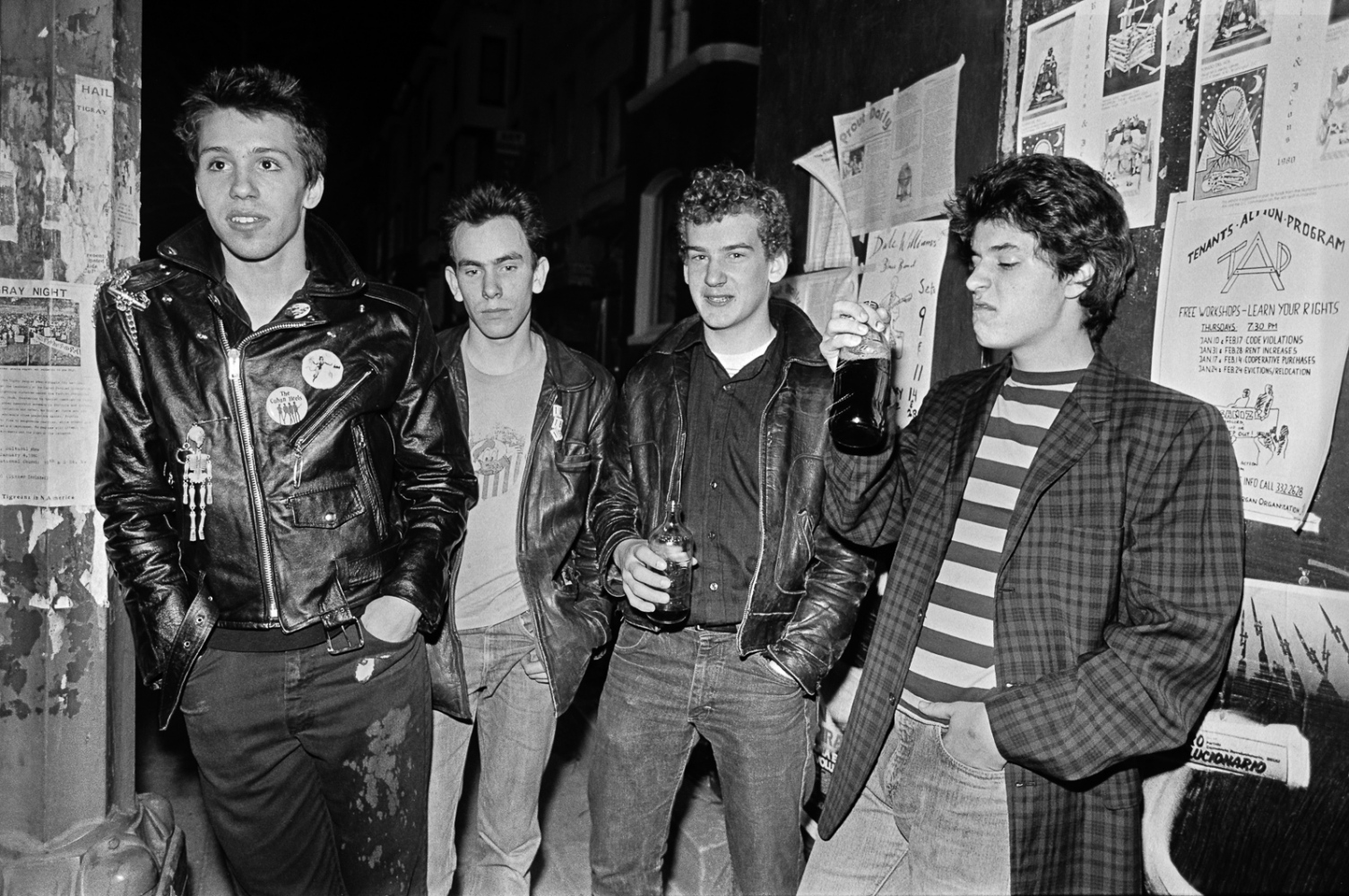 The Teen Idles: Nathan Strejcek, Jeff Nelson, Ian MacKaye, Geordie Grindle, 18th Street, Adams Morgan, 1/25/80