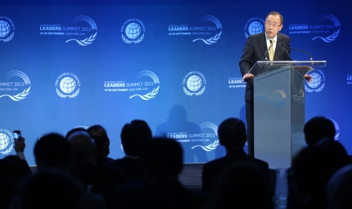 UN Secretary General Ban Ki-Moon speaks during the Global Compact Summit in New York.