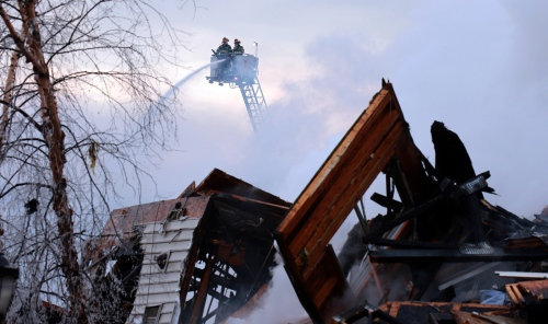 Firefighters work on an apartment fire in Edgewater, NJ.