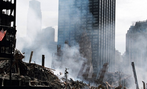 Smokes billows at the World Trade Center site after the building collapsedduring terrorist attacks in New York on September 11, 2001.