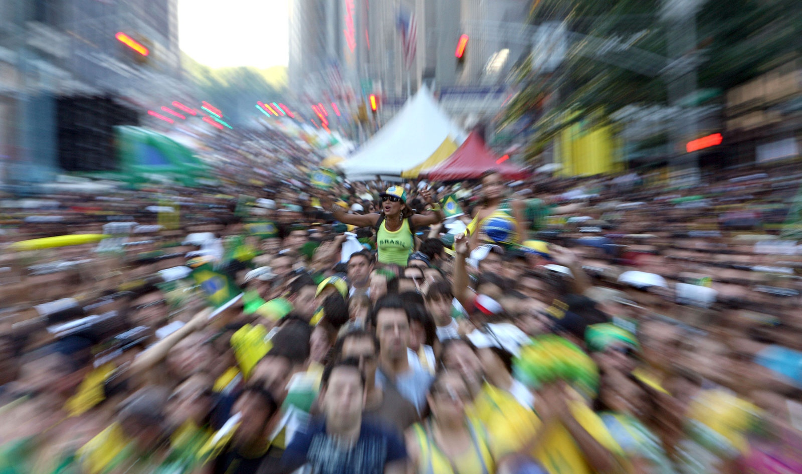Brazilians celebrate Brazil Day on Sixth Ave in New York.