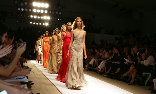 Models walk the runway during New York Fashion at the tents, Lincoln Center.