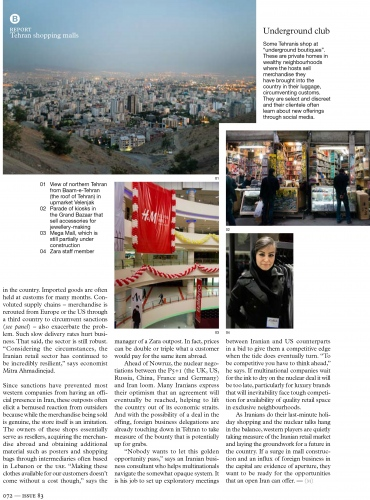 PERSIAN PLENITUDE: TEHRAN SHOPPING MALLS, Monocle Magazine (UK) - 2015