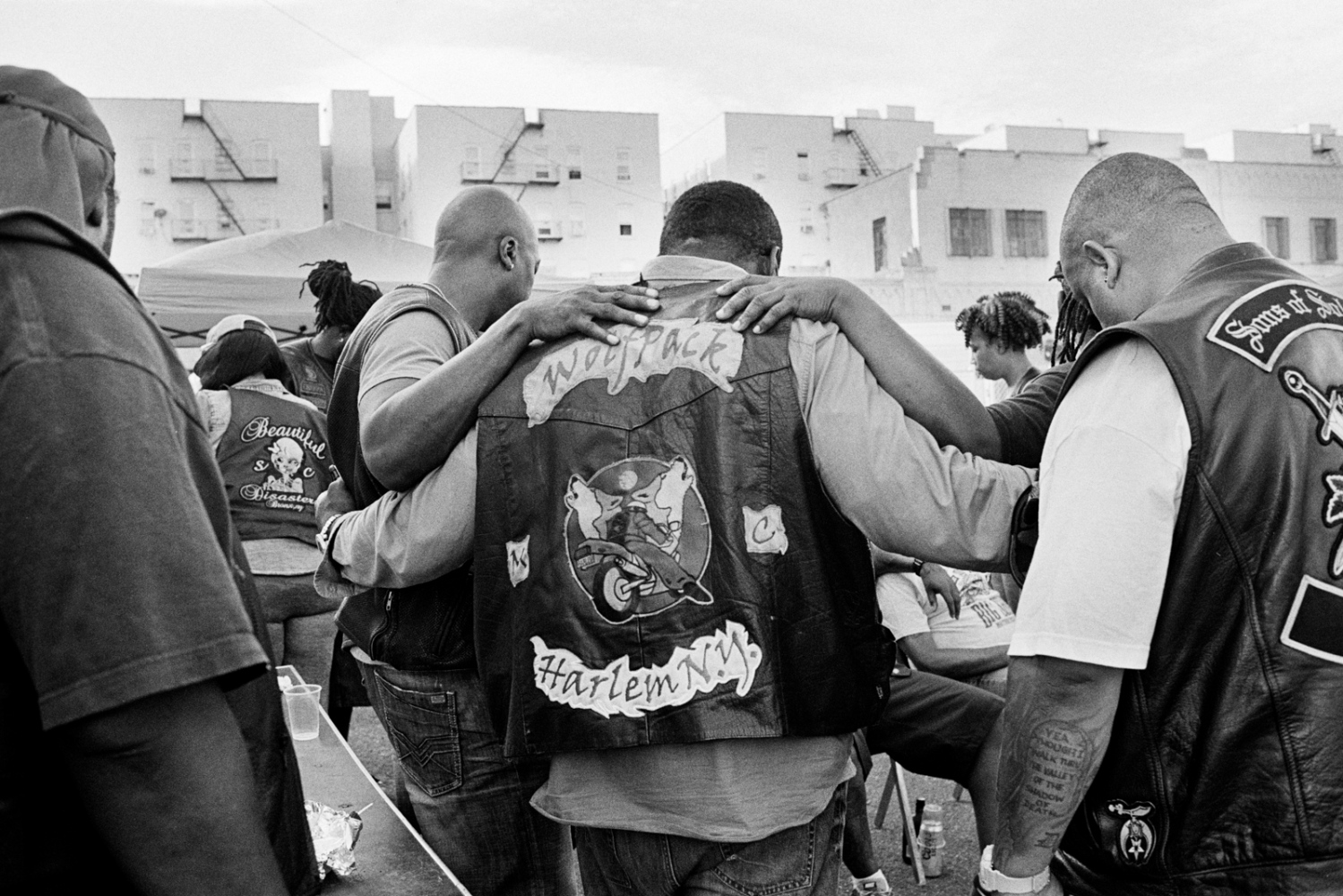 Clubs join together for a moment of silence for fallen riders at the Black Falcons MC bike blessing, The Bronx, 2016