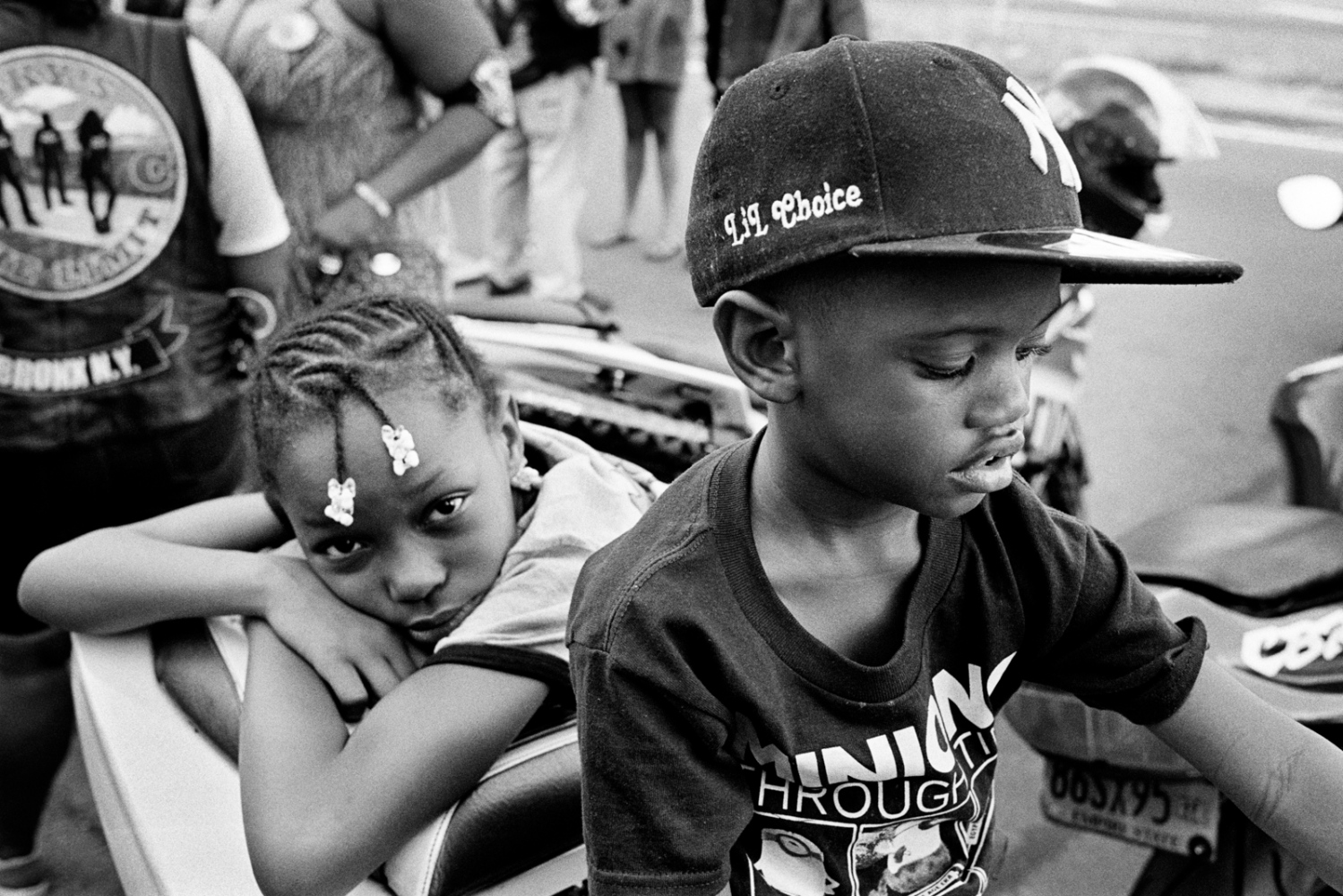 Jailyn and Xavier at the Black Falcons MC bike blessing, The Bronx, 2016