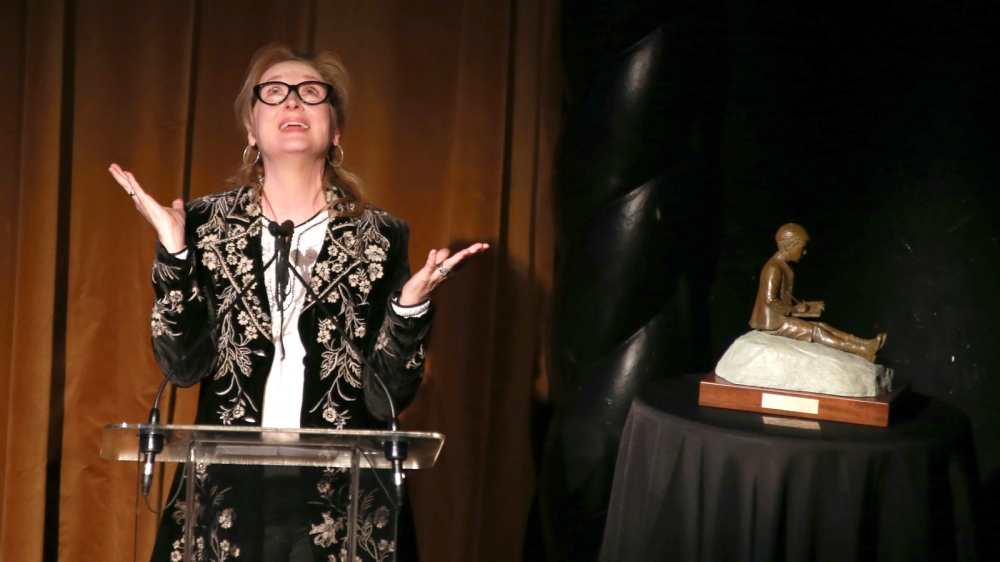 Actress Meryl Streep, accepts the 2014 Monte Cristo award dinner at the Edison Ballroom in New York.