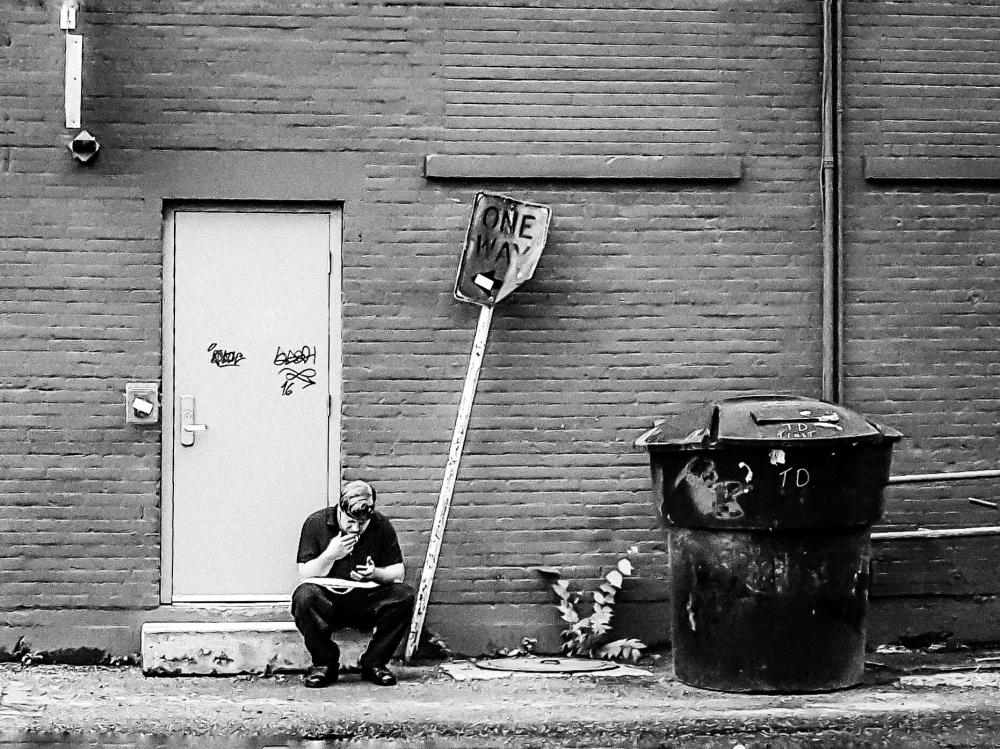 Photography image - Smoke Break ( behind 2nd Ave.) Saskatoon, SK Canada