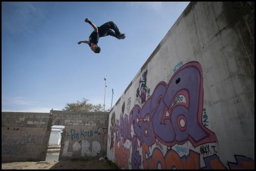 18 year old Fahed Dawood at his Parkour Teams main base off Saladin Road in Beit Hanoun, Norhern Gaza Strip.