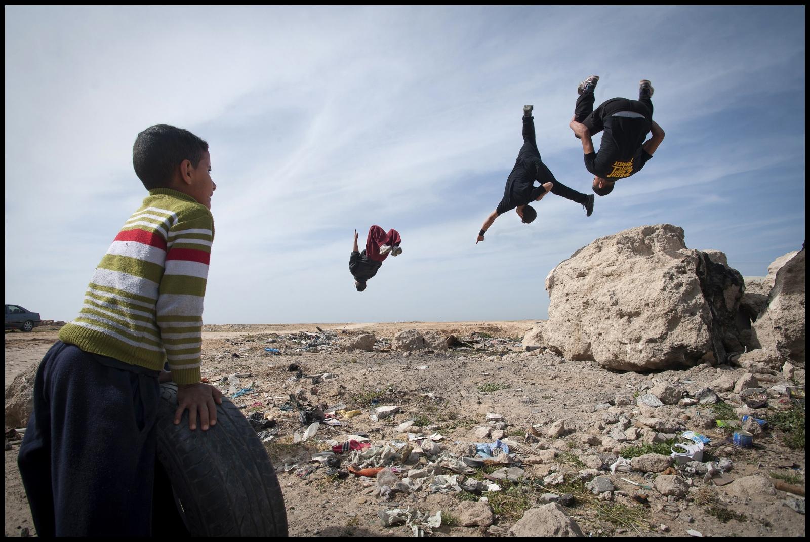 Some of the Parkour Team '3 Run Gaza' at Beit Hanoun, Northern Gaza Strip.