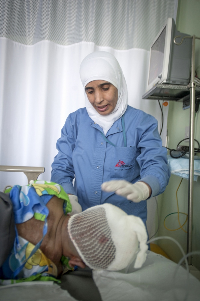 A burns patient in recovery in the Operating Theatre of the MSF Hospital for Reconstrucive Surgery in Amman, Jordan.