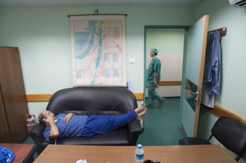 Dr Sanjay Mehra takes a rest at the Al Shifa inbertween surgical procedures.