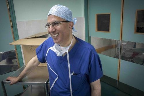 Dr Abdul Hammad allows himself a smile after completing the organ transplant on Fatma Othman, Al Shifa Hospital, Gaza, occupiedPalestinian territory.