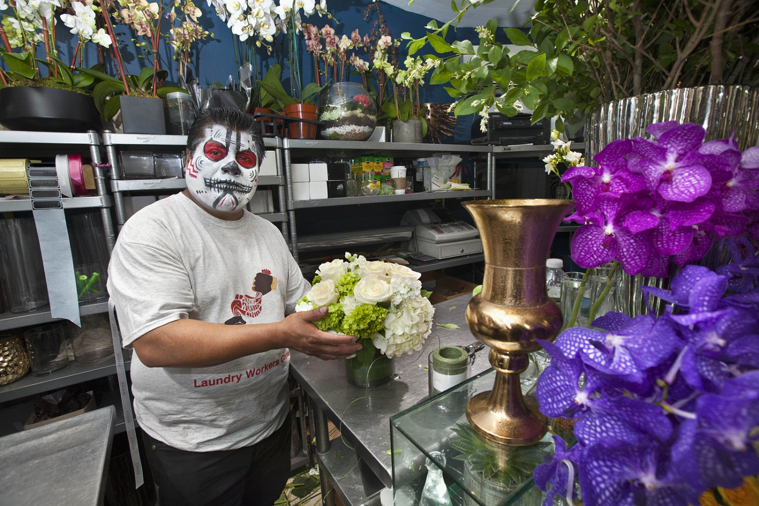 Francisco. Mexico. 9 years living in the United States     Francisco is part of the new campaign by the organization Laundry Workers Center to improve florist worker's conditions and wages. These workers that work as florists in Manhattan, submitted to harsh weather conditions such as extreme cold in the winter and extreme hot in the summer. They are also enclosed with gas fumes that keeps the conditions of the flowers but is hazardous to their health.