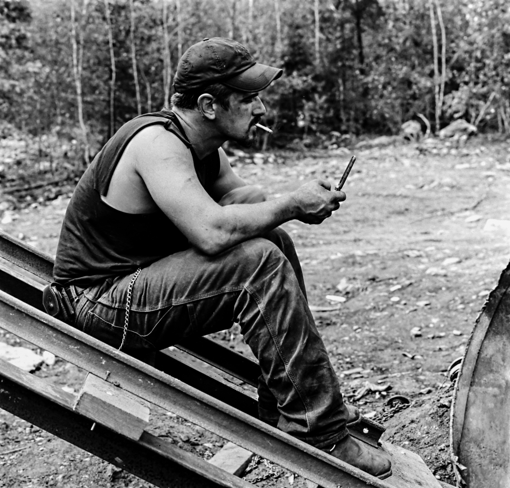 Rick, Little Buck Mine, Schuylkill Co. PA 2011   A 30-year-old hard living miner with multiple scars from accidents and bar fights, Rick ended up symbolizing for me the typical personality of many miners. What did I take away from my time spent with the miners?  The relationships, the bonds, the ties that they have, the pride they take in what they do, and the pride they take in being independent