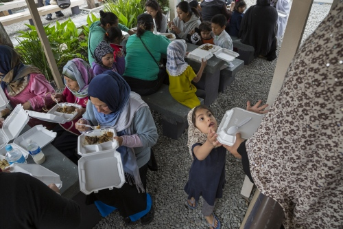 Mexican Muslim women gather for lunch outside the mosque in Rosarito, after Jumma, which is Friday's religious service.
