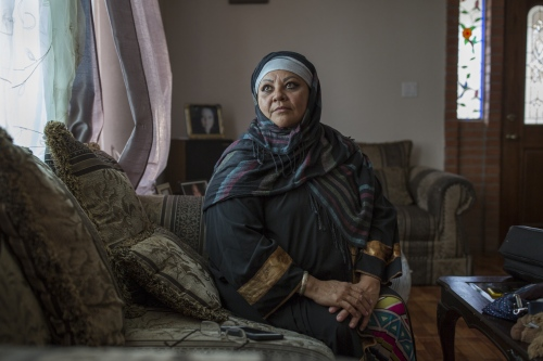 Lupita Cambreros sits in the living room of her house in Rosarito, Mexico. The basement of the house used to be a mussala where muslim brothers and sisters used to gather but now they attend a new mosque that was inaugurated a few months ago.
