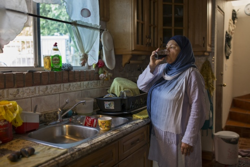 Irma Morales drinks Jamaica tea at her daughter Lupita's house, where they usually hang out after they come back from Arabic and Islamic classes every Saturday.