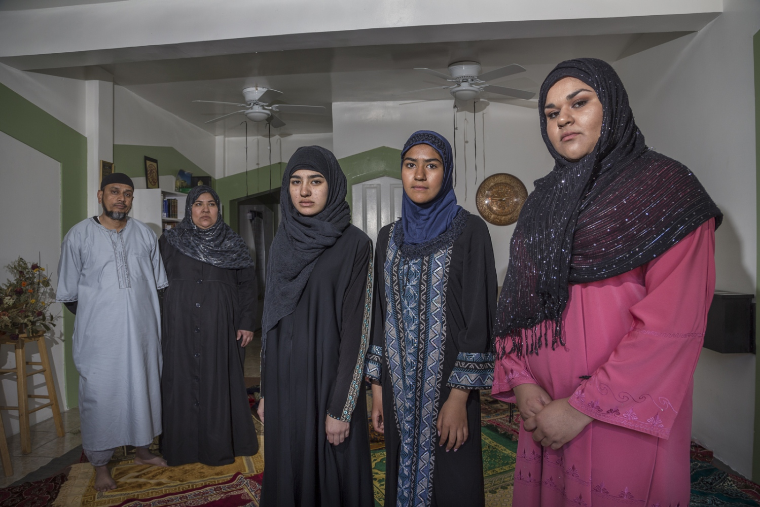 Imam Parvez Haque and his wife Monica Pulido with their three daughters Shaiza, Hanna and Heather at Rosarito's Masjid el Noor, in Mexico. Parvez Haque is originally from Pakistan but has been living in Mexico for over 20 years. His wife and daughters recently moved to Santa Ana, California, where the girls attend high school.