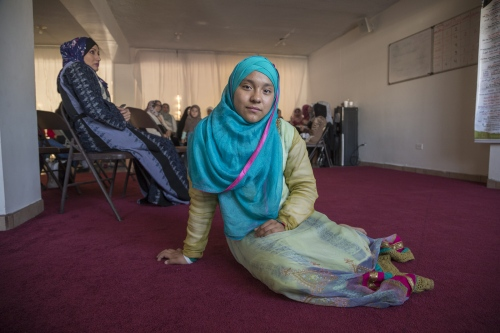 Tabatha Garcia, 12, poses at a gathering in the mosque of Omar, in Playas de Tijuana. Tabatha converted to Islam one year ago with her mother and little sister.