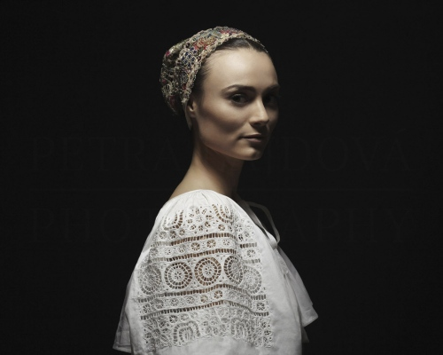 čepiec I headdress Detva, Podpoľanie    Photo Rag® Baryta, Hahnemühle 315g, limited edition     80 x 100 cm  of 23+2AP     40 x 50 cm of 48+2AP     20 x 25cm of 198+2AP      signed, dated and numbered, with a Certificate of authenticity