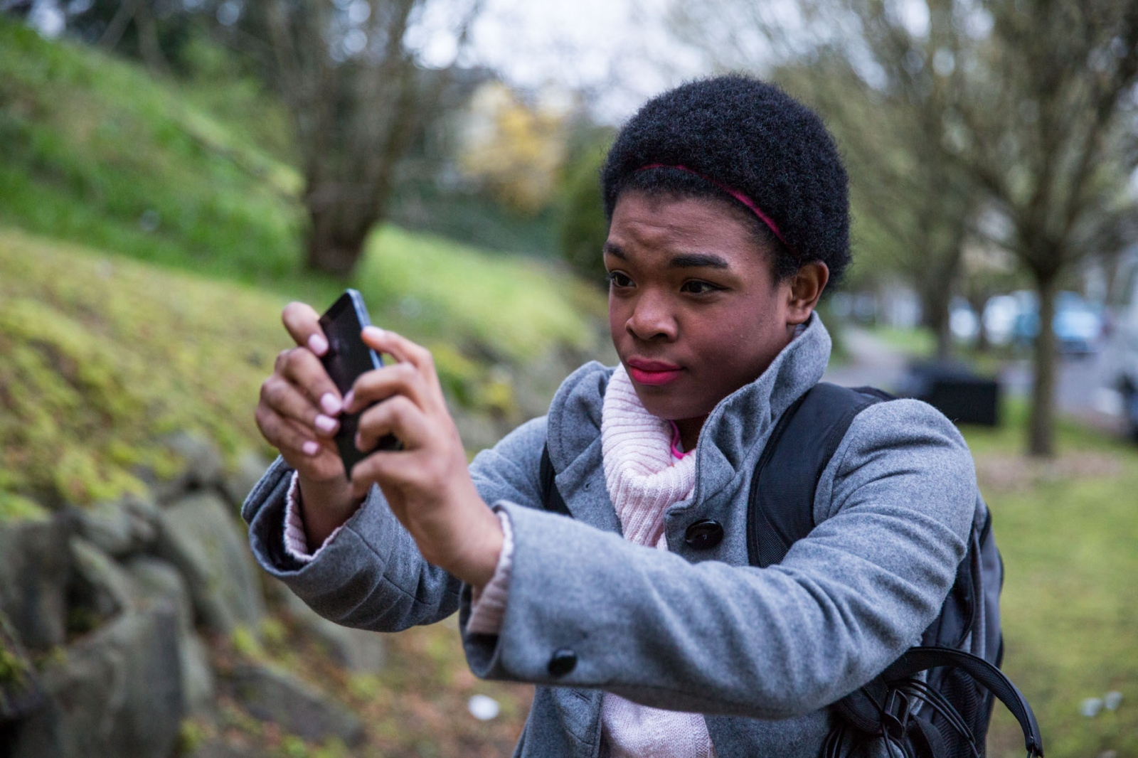 Marcelas takes a selfie on the way to school.  For CNN Digital