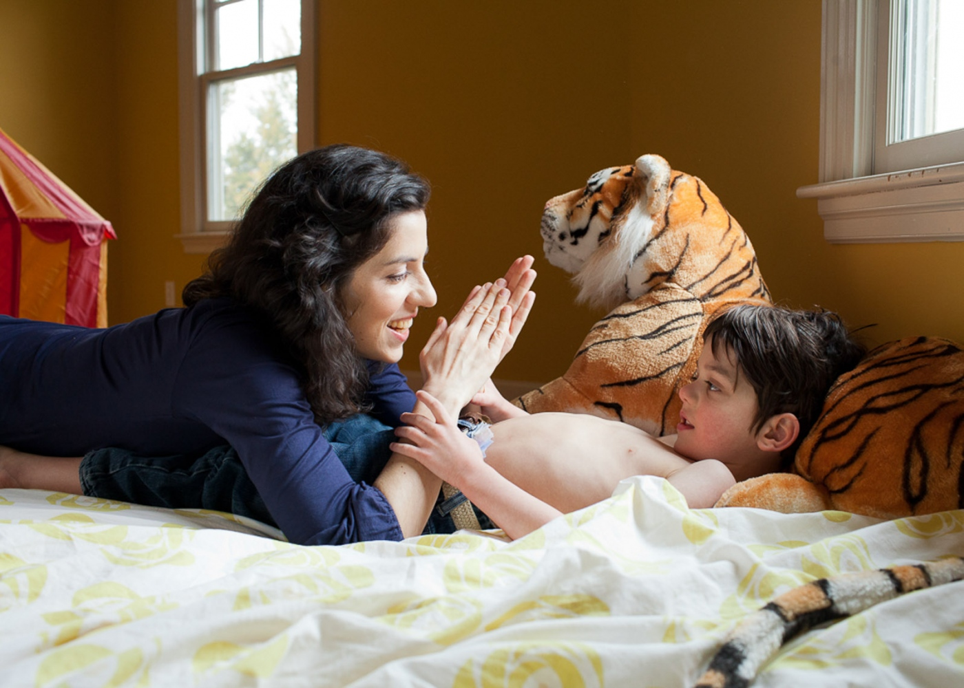 Alysia and Finn in his bedroom.  For Money Magazine
