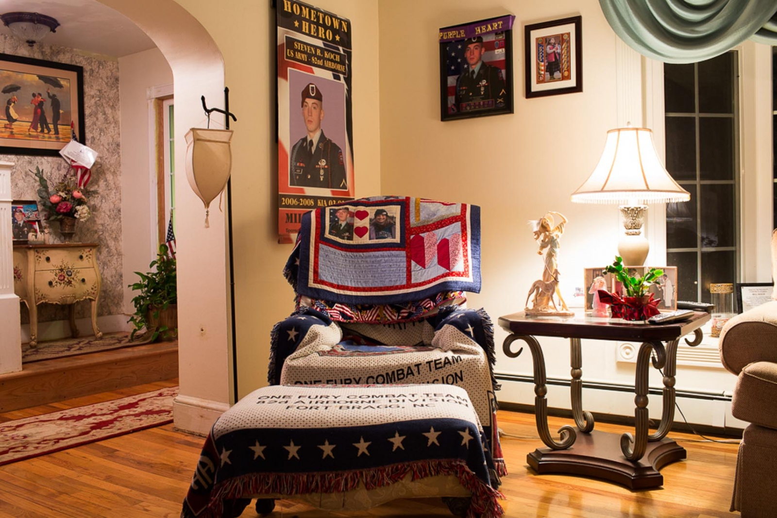 For visitors, the Kochs house can feel overwhelming. Its a memorial. Stevens favorite chair is draped with a quilt a friend made with pictures of him and his sister. No one sits there. For CNN Digital