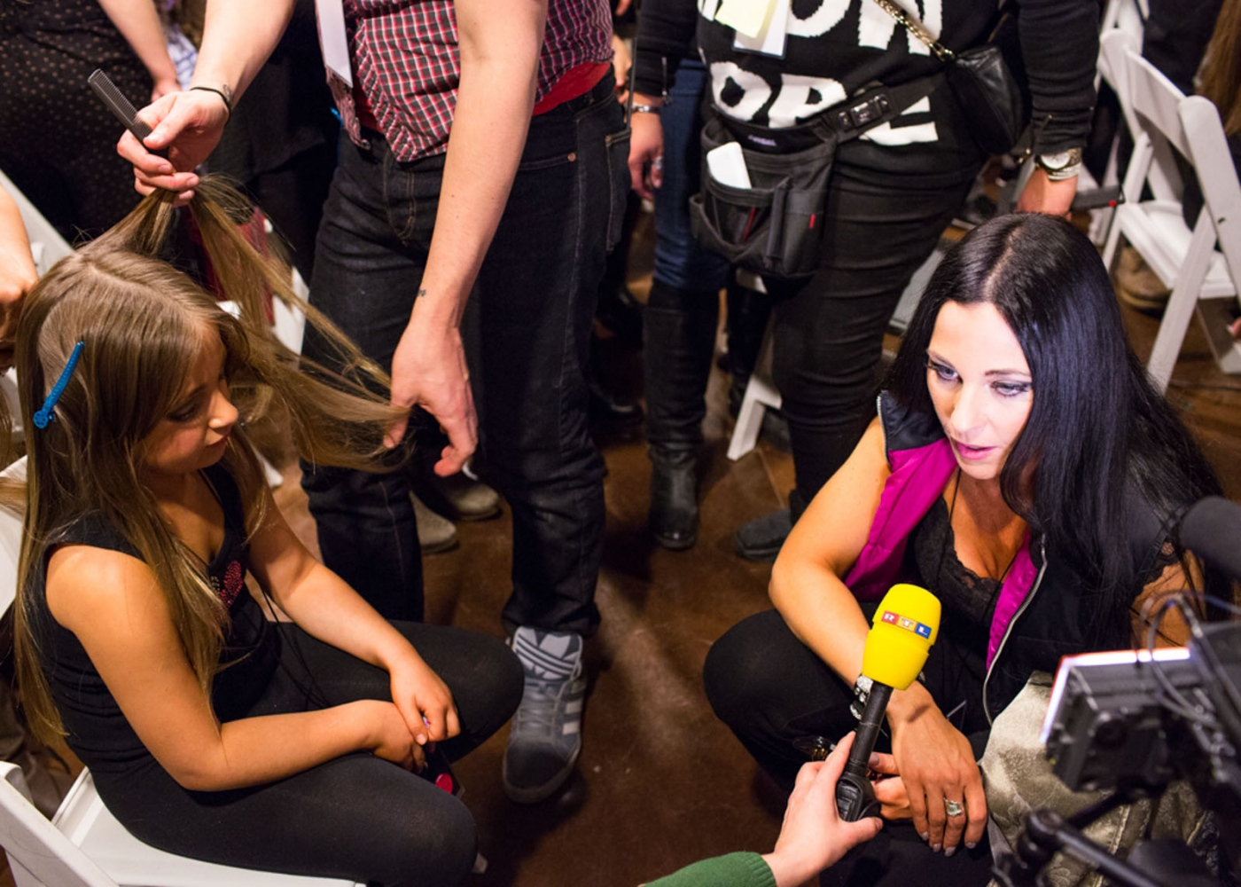 Susanna is interviewed backstage while Isabella gets her hair done at New York Fashion Week For Nido Magazine