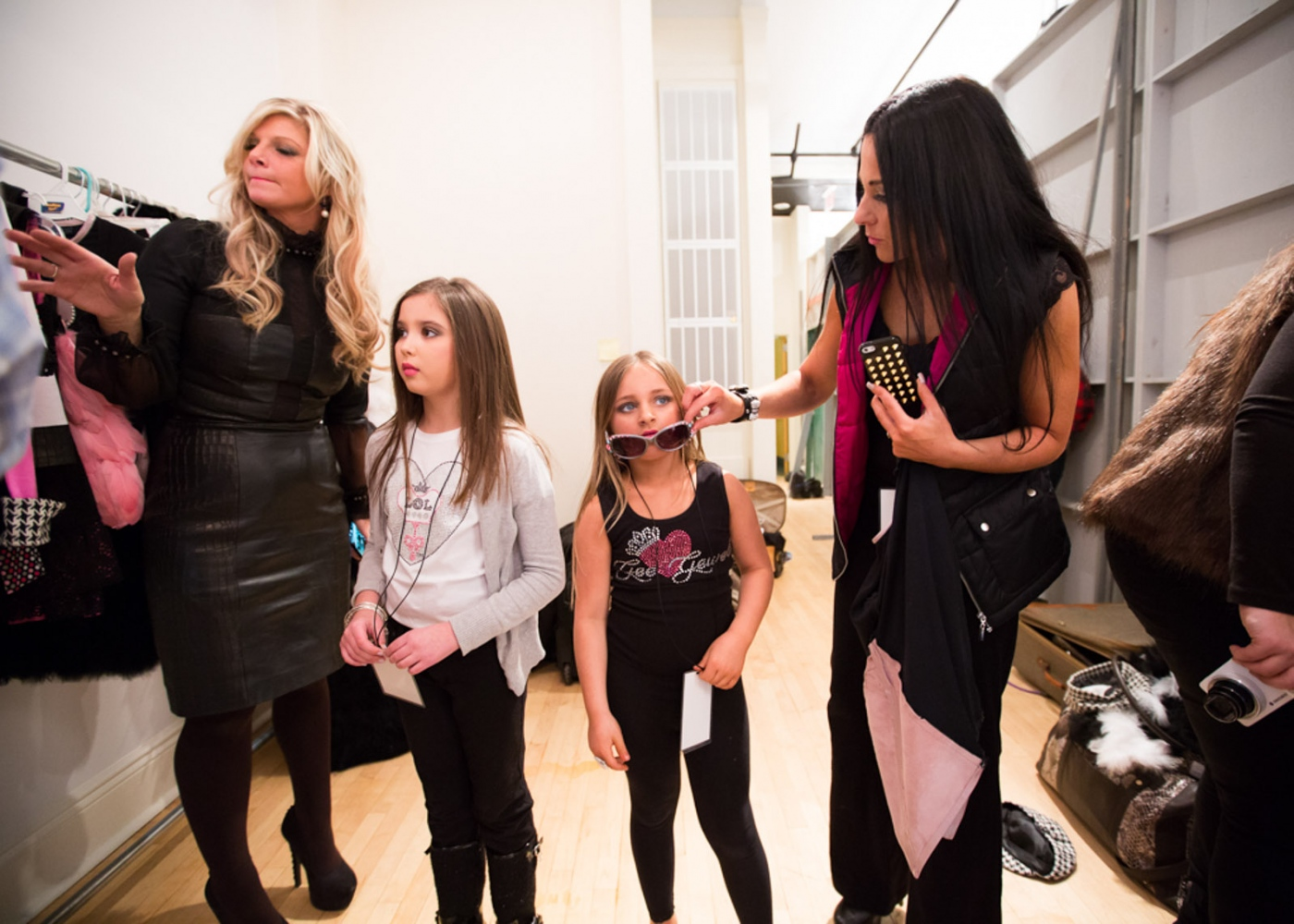 Isabella and her mother Susanna backstage before the debut of her clothing line Bound by the Crown at New York Fashion Week For Nido Magazine