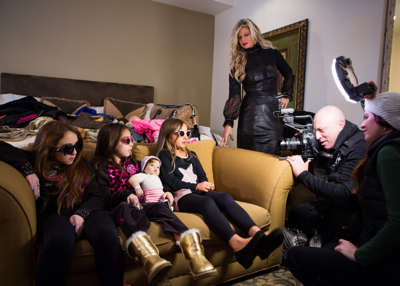 Former Toddler and Tiaras  star Isabella Barrett and her friends are interviewed for her reality show before the debut of her clothing line Bound by the Crown at New York Fashion Week For Nido Magazine