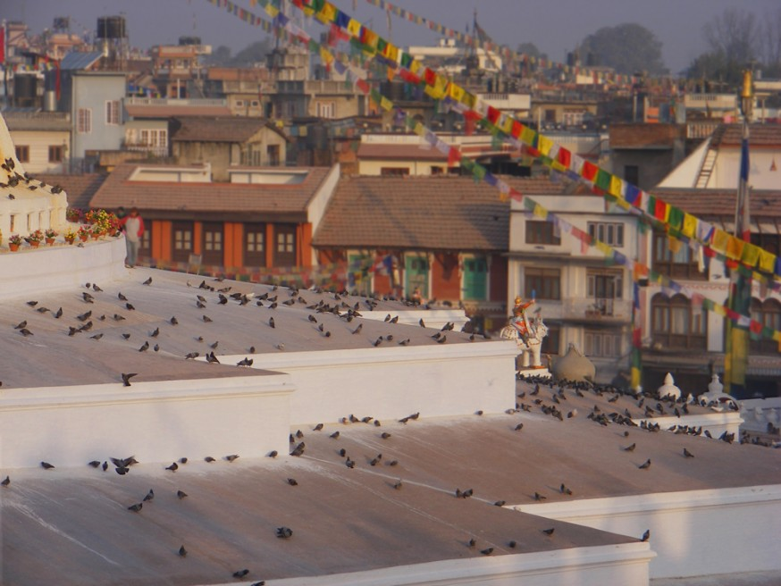 Rooftops behind the Boudinath stupa.
