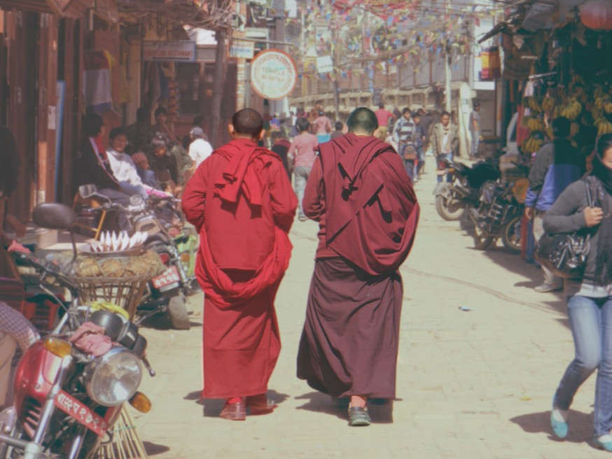 Two monks on the street in Boudinath.