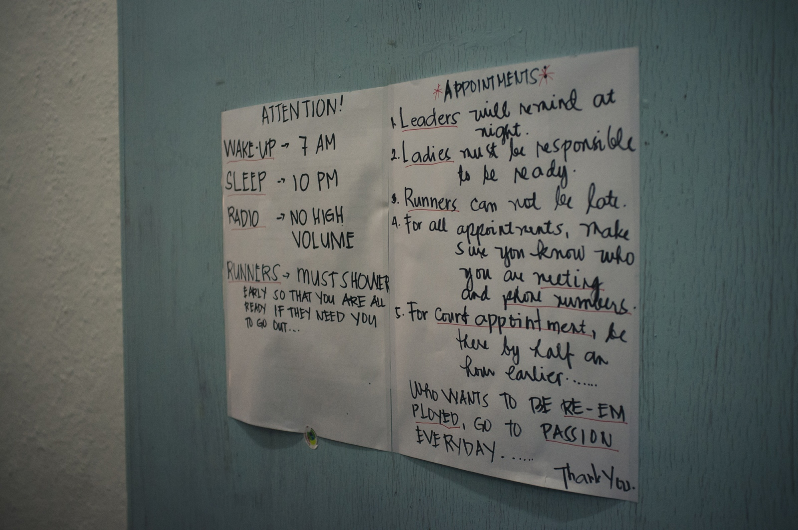 House rules at a shelter run by The Humanitarian Organisation for Migration Economics (HOME), an organisation that provides direct assistance to men and women migrants and victims of human trafficking and forced labour. Abuse of domestic workers ranges from physical and verbal abuse, sexual assault, punative action for perceived wrongs, violation of contracted rights and witheld pay.
