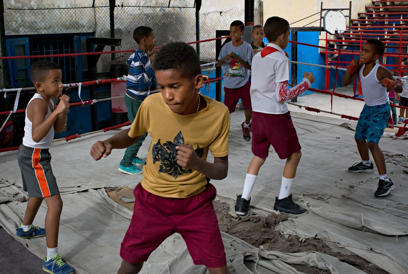 Rafael Trejo Boxing Gym is the oldest functioning boxing gym in Havana and hosts children after school for boxing training. As other facilities, they mostly function on donations from the public.