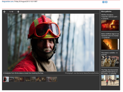 Portuguese wildfires in The Guardian. 30-08-2013. View  here .
