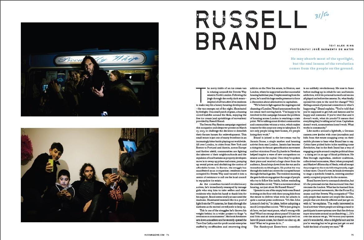 Russel Brand for Huck Magazine. 2015.